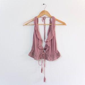 Free People Pink Top w/ Ruffles & Crochet Lace